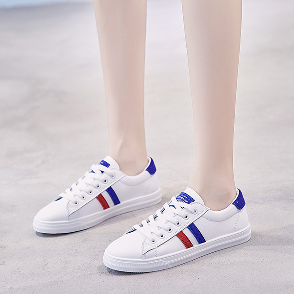 Contrast Stripes Laced Flat Casual Sneakers - Blue
