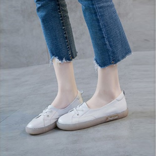 Flat Wear Laced Up Casual Sneakers - White