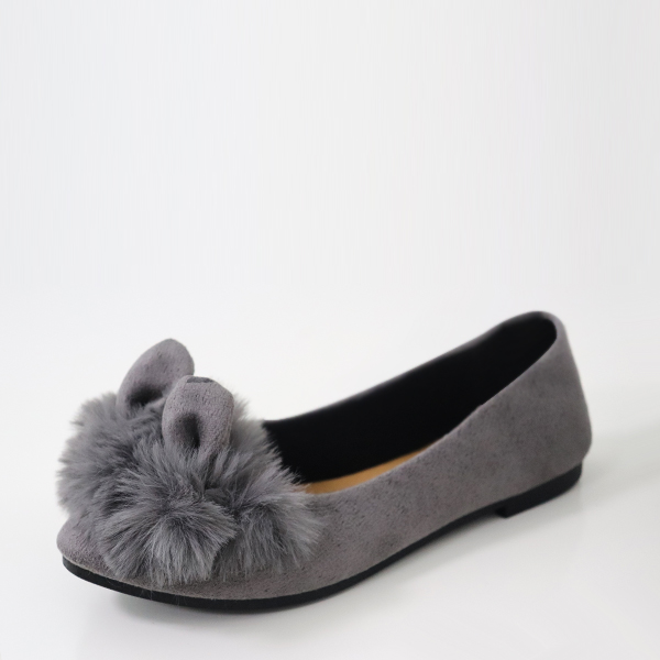 Fluffy Rabbit Flat Canvas Casual Shoes - Grey