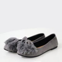 Fluffy Rabbit Flat Canvas Casual Shoes - Green
