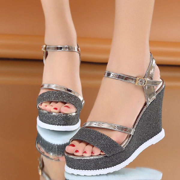 Glittered Thick Bottom Grey Party Wear Sandals