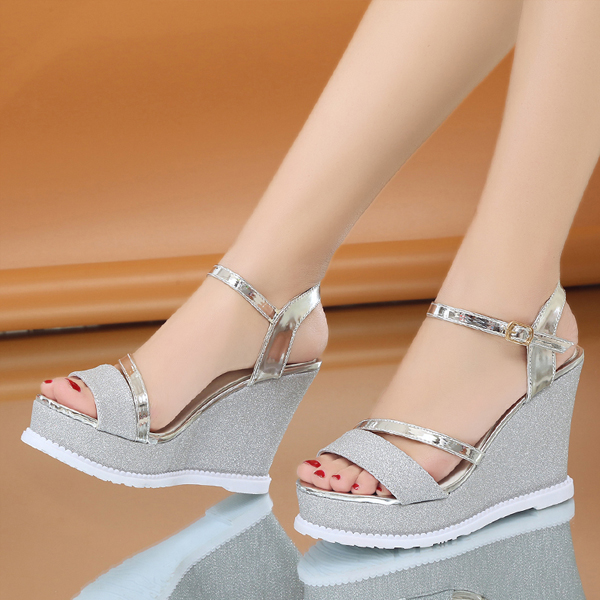 Glittered Thick Bottom Silver Party Wear Sandals