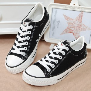 Black Laces Flat Casual Canvas Shoes