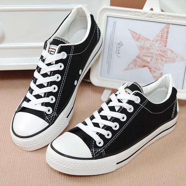 Black Laces Flat Casual Canvas Shoes