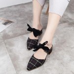 Bow Patched Check Prints Pointed Sandals - Black