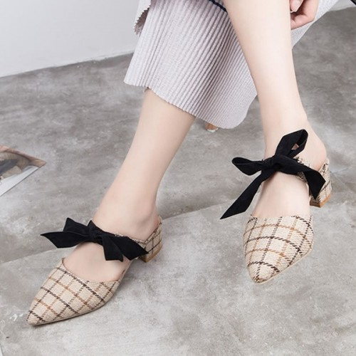 Bow Patched Check Prints Pointed Sandals