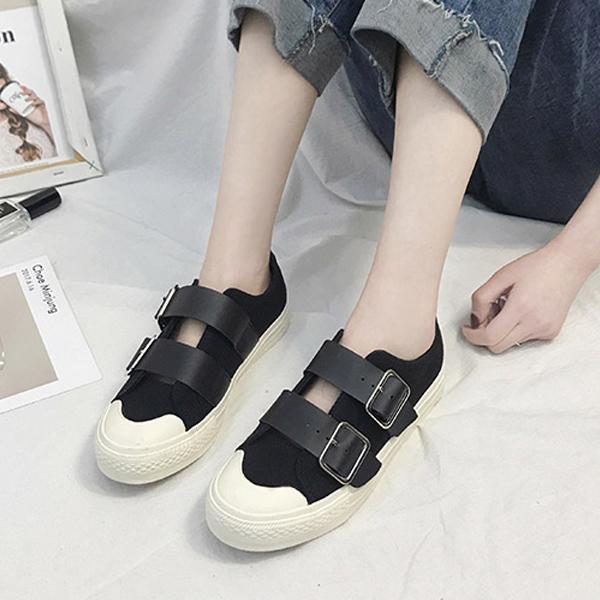 Buckle Belt Casual Wear Flat Sneakers - Black
