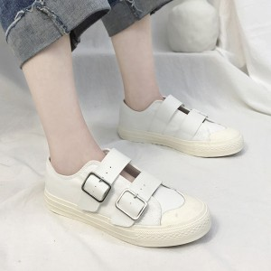 Buckle Belt Casual Wear Flat Sneakers - White