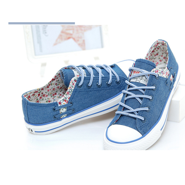 Floral Casual Fashion Canvas Female Shoes Blue