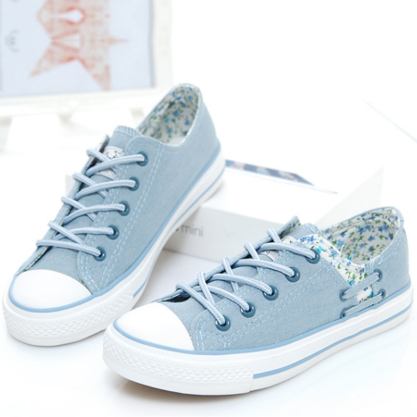 Floral Casual Fashion Canvas Female Shoes Sky Blue