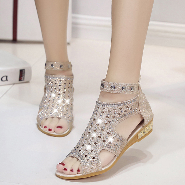 Rhinestone Decorated Party Wear Grey Sandals