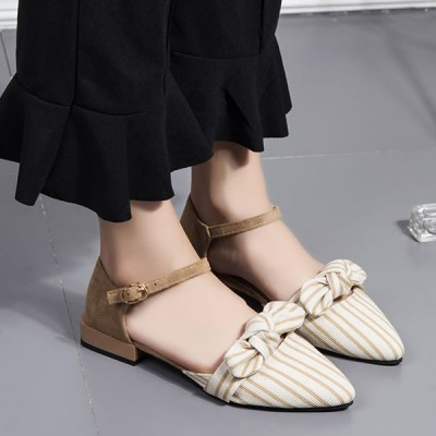 Striped Pointed Buckle Closure Sandals - Khaki