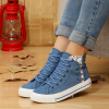 Flat Blue Floral Canvas Sneakers For Women