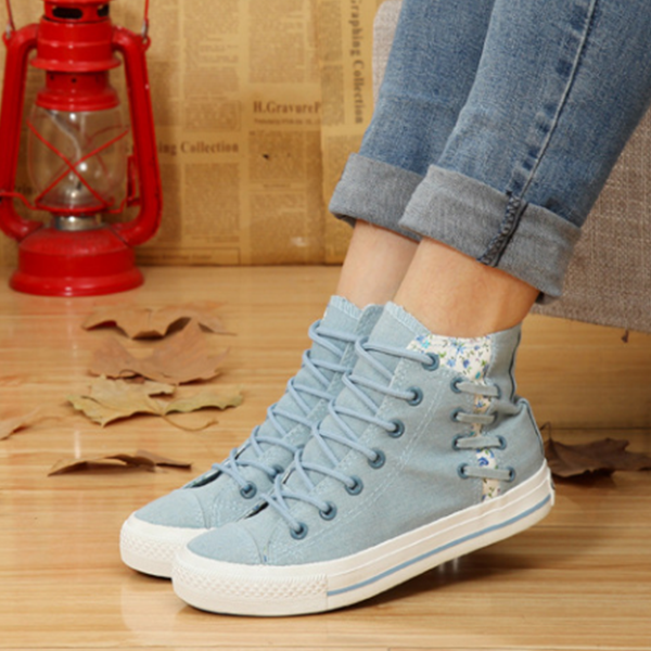 Flat Sky Blue Floral Canvas Sneakers For Women