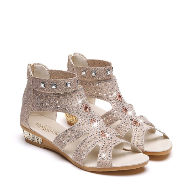Rhinestone Decorated Party Wear Canvas Sandals