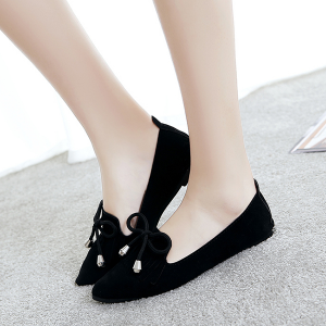 Tassel Laced Party Wear Suede Shoes - Black
