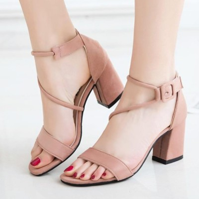 Medium Heel Wavy String Sandals - Pink
