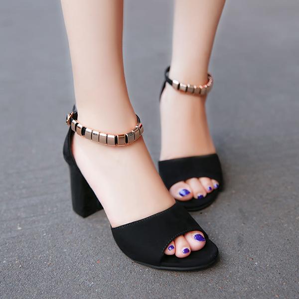 Fish Mouth Velvet Black Party Wear Sandals