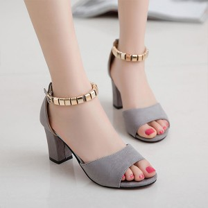 Fish Mouth Velvet Grey Party Wear Sandals