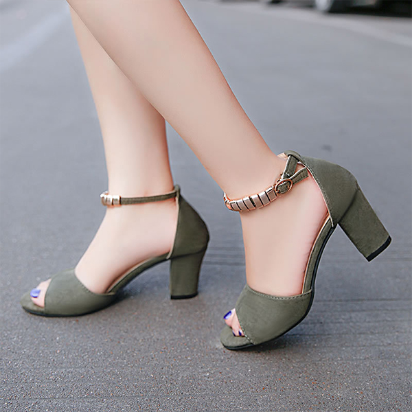 Fish Mouth Velvet Green Party Wear Sandals