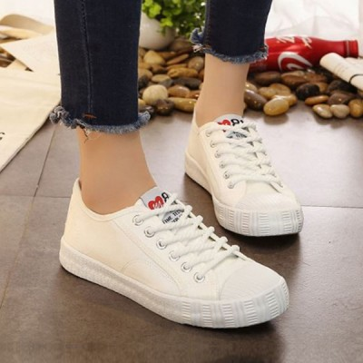 Rope Laces White Formal Flat Sneakers