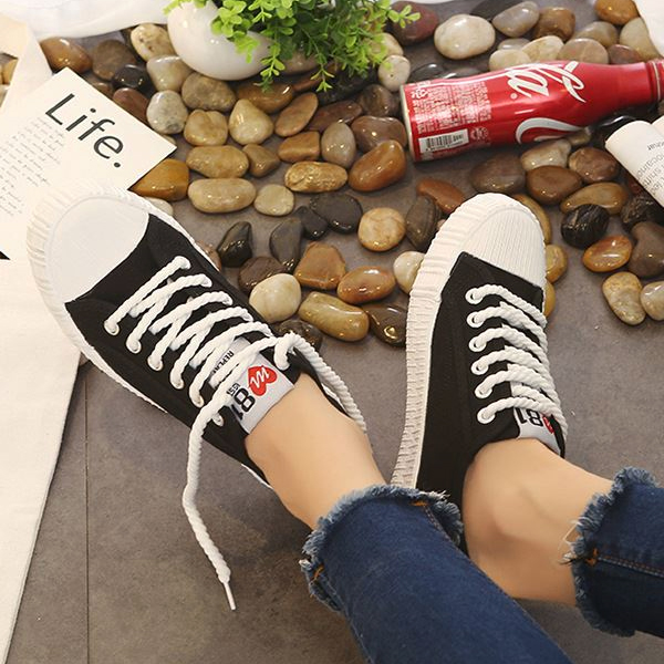 Rope Laces Black Formal Flat Sneakers