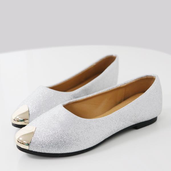 Glitter Flat Bottom Party Wear Shoes - Silver