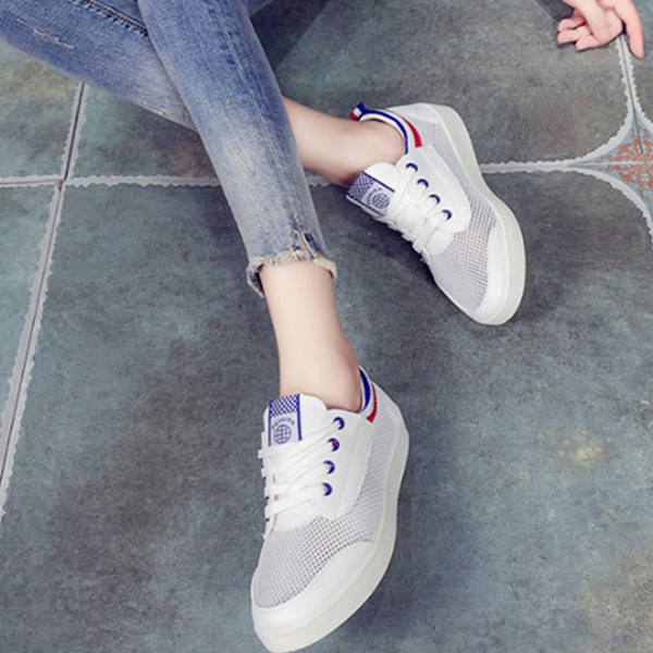 New Women Casual Lace-up Flats Breathable Mesh Shoes Blue