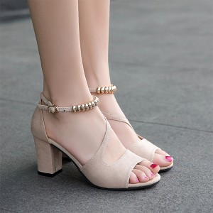 High Heel Fish Mouth Beige Comfy Sandals