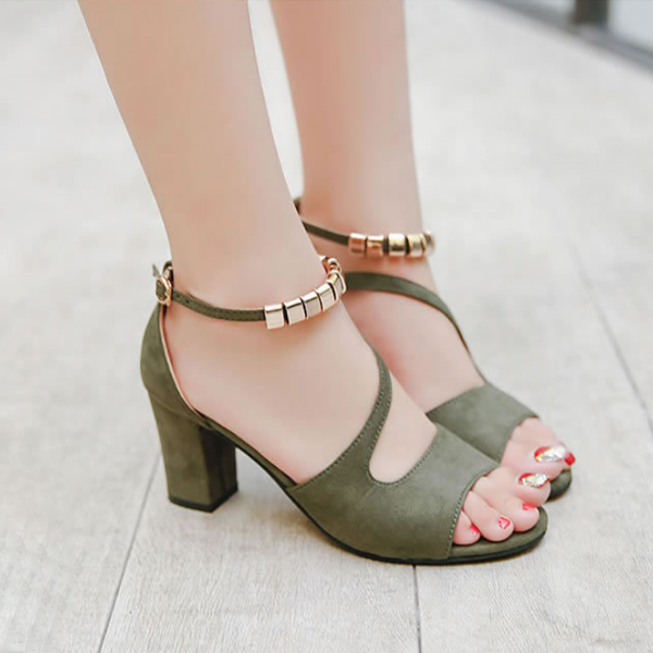 High Heel Fish Mouth Green Comfy Sandals