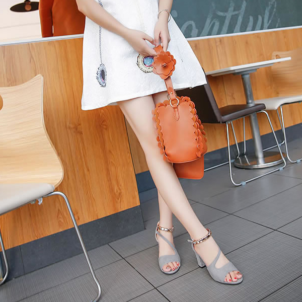 High Heel Fish Mouth Gray Comfy Sandals
