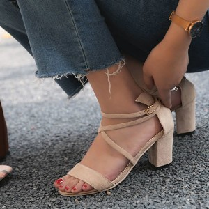 Cross String Medium Heel Velvet Sandals - Khaki