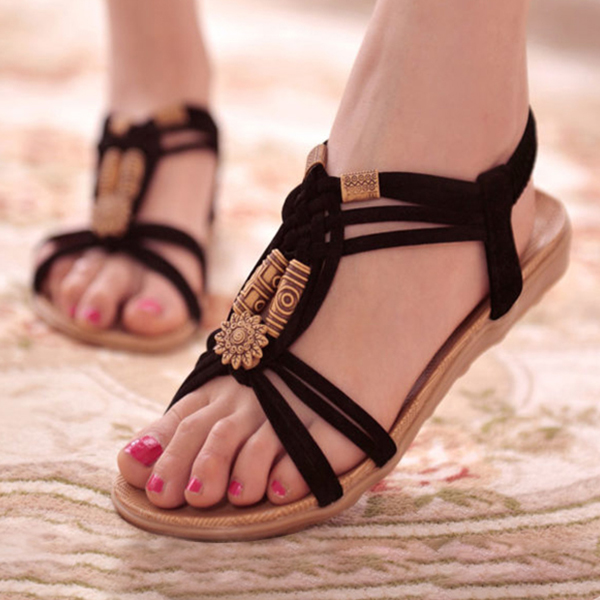 Bohemian PU Leather Flat Black Party Sandals