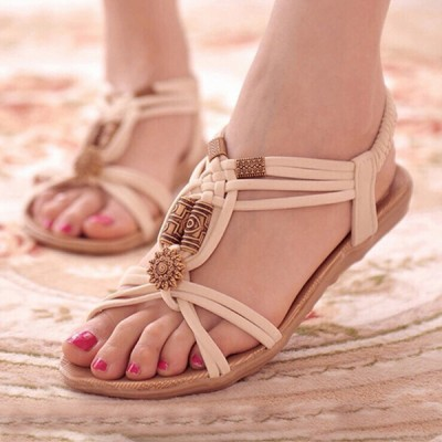 Bohemian PU Leather Flat White Party Sandals