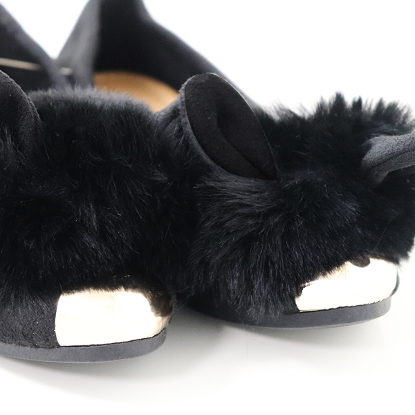 Hair Ball Rabbit Style Party Wear Shoes - Black
