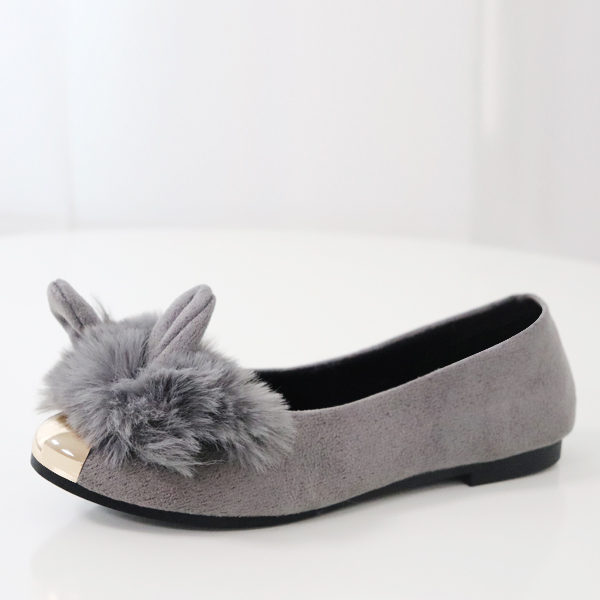Hair Ball Rabbit Style Party Wear Shoes Grey