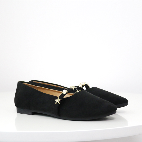 Stars Decorated Pearl Canvas Flat Shoes - Black