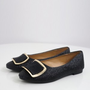 Buckle Style Party Wear Sparkling Flat Shoes - Black