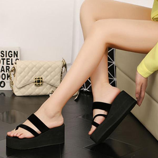 Suede Cross Strap Thick Bottom Platform Sandals - Black