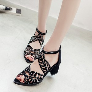 Party Wear Tropical Pattern Sandals - Black