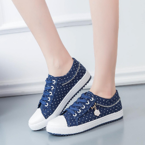 Polka Dotted Dark Blue Flat Casual Shoes