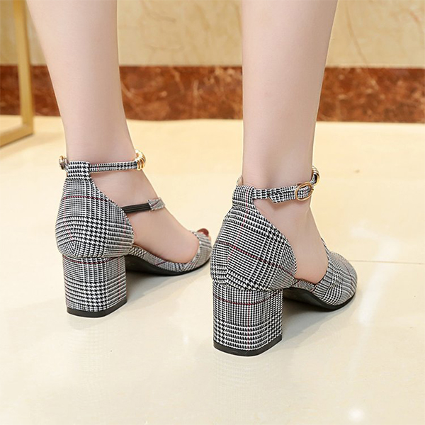Fish Mouth Square Heel Canvas Sandals