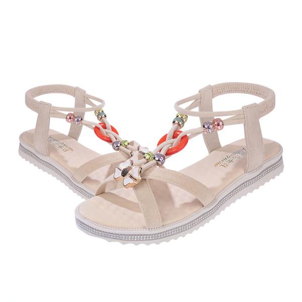 Bohemian Flat Khaki Summer Sandals