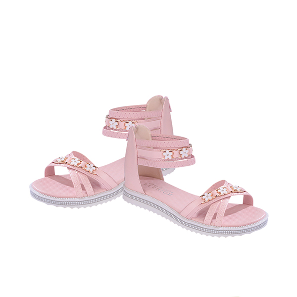 Floral Decorated Pink Flat Casual Sandals
