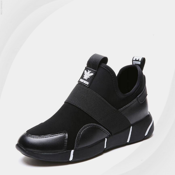 Thick Bottom Sports Wear Contrast Canvas Shoes - Black