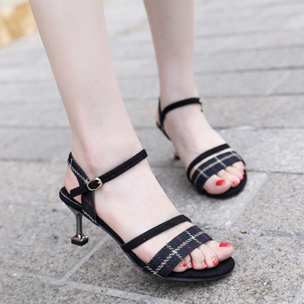 Check Prints Pencil Heeled Buckle Sandals - Black
