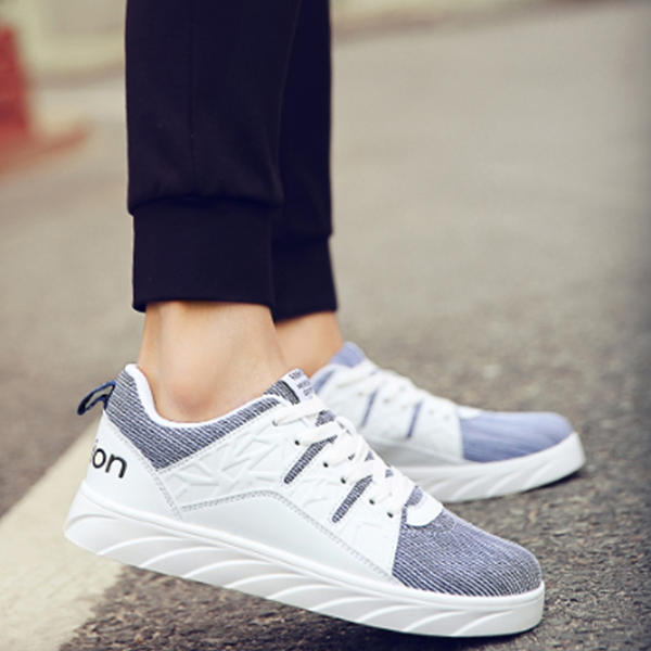 Unisex Canvas Sports Shoes Thick Bottom Blue And White