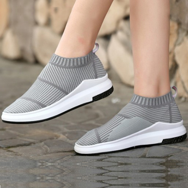 Elastic Casual Fashion Trendy Gray Shoes For Women