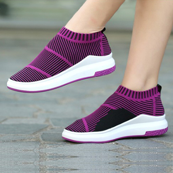 Elastic Casual Fashion Trendy Purple Shoes For Women