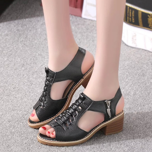 Cross Tie Zipper Closure Medium Heel Sandals - Black